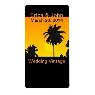 El vino tropical del boda etiqueta las palmeras de etiquetas de envío