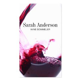 El vino vierte el chapoteo del | tarjetas de visita