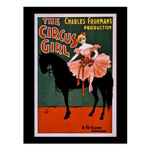 El vintage 1897 del chica del circo postal