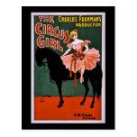 El vintage 1897 del chica del circo tarjeta postal