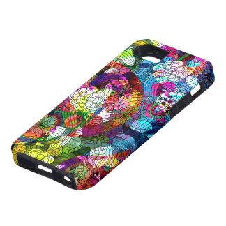 El vintage abstracto colorido florece el collage iPhone 5 carcasas
