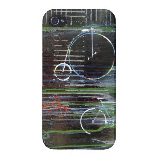 El vintage abstracto monta en bicicleta el caso de iPhone 4 fundas