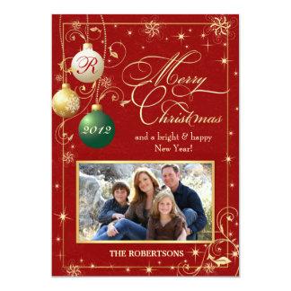 """El vintage adorna la tarjeta de Navidad de la foto Invitación 5"""" X 7"""""""