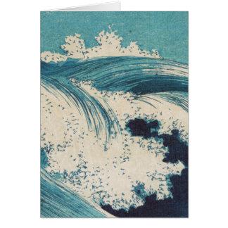 El vintage agita el océano japonés del grabar en m tarjeta