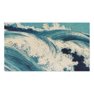 El vintage agita el océano japonés del grabar en m tarjetas de visita