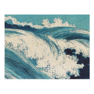 El vintage agita el océano japonés del grabar en m postal