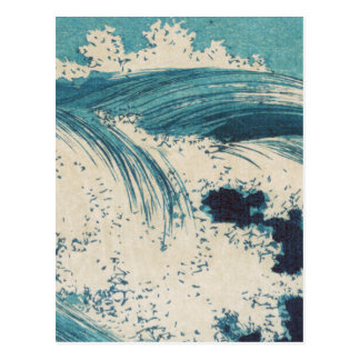 El vintage agita el océano japonés del grabar en m tarjeta postal