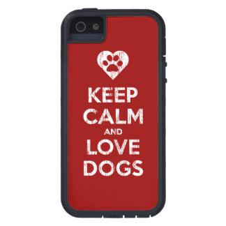 El vintage apenado guarda calma y ama perros iPhone 5 Case-Mate cobertura