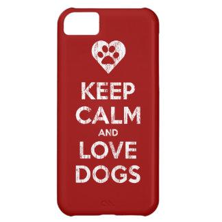 El vintage apenado guarda calma y ama perros funda para iPhone 5C