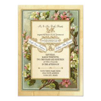 """El vintage Apple florece, tipografía manchada té Invitación 5"""" X 7"""""""