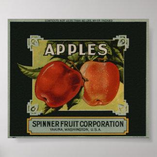 El vintage Apple viejo da fruto las etiquetas del  Posters