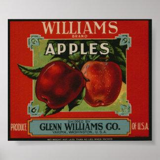 El vintage Apple viejo da fruto las etiquetas del  Poster