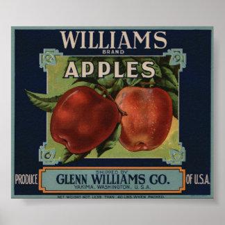 El vintage Apple viejo da fruto las etiquetas del Póster