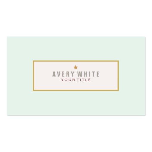 El vintage azul de la menta simple resuelve estilo tarjetas de visita