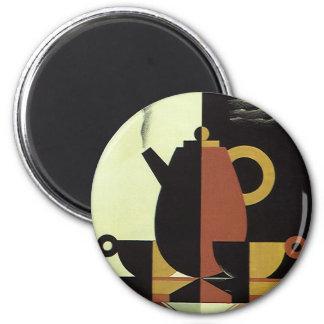El vintage bebe el pote del café de las bebidas imán redondo 5 cm