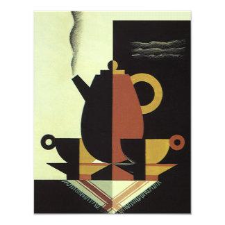 """El vintage bebe el pote del café de las bebidas invitación 4.25"""" x 5.5"""""""