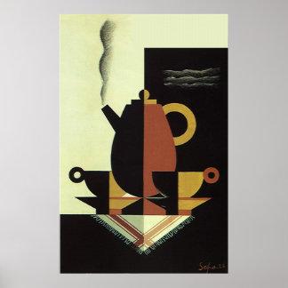 El vintage bebe el pote del café de las bebidas póster