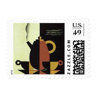 El vintage bebe el pote del café de las bebidas sello postal