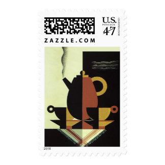 El vintage bebe el pote del café de las bebidas sellos