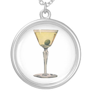 El vintage bebe la aceituna de Martini del cóctel Colgante Redondo