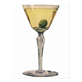 El vintage bebe la aceituna de Martini del cóctel  Postales