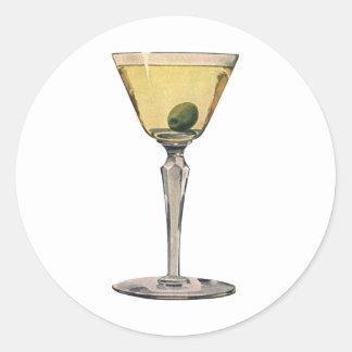 El vintage bebe las bebidas, cóctel de la aceituna pegatina redonda