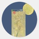 El vintage bebe las bebidas limonada o soda de la pegatina redonda