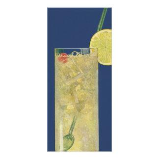 El vintage bebe las bebidas limonada o soda de la plantilla de lona