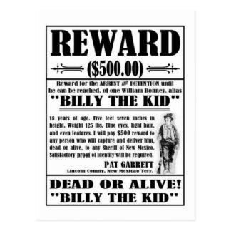 El vintage Billy el niño quiso el poster Postal