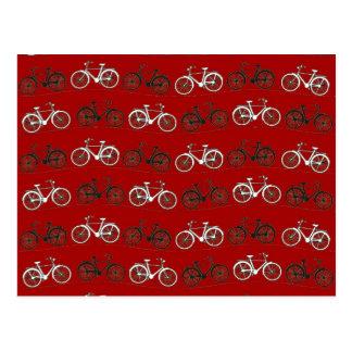 El vintage blanco negro rojo monta en bicicleta el postal