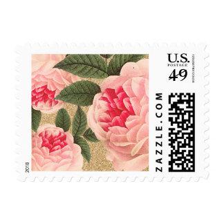 El vintage bonito florece franqueo timbre postal