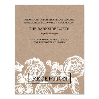 """El vintage bosquejó la tarjeta botánica de la invitación 4.25"""" x 5.5"""""""