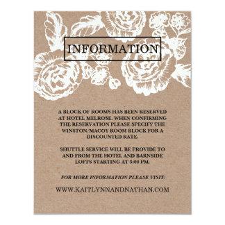 """El vintage bosquejó la tarjeta de información invitación 4.25"""" x 5.5"""""""
