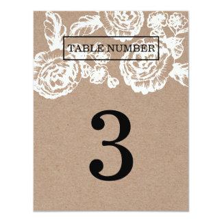 """El vintage bosquejó número botánico de la tabla invitación 4.25"""" x 5.5"""""""