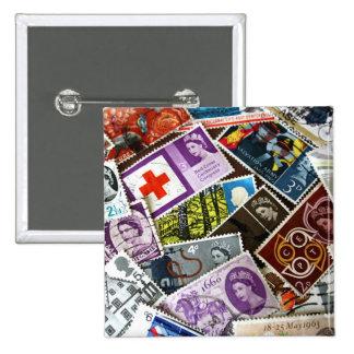 El vintage británico sella la insignia del botón pin cuadrado