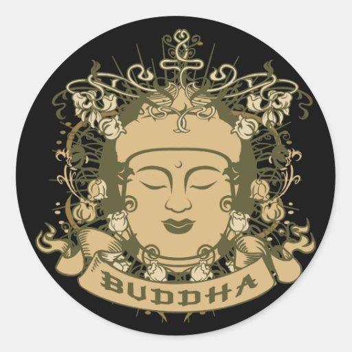 El vintage Buda hace frente Pegatina Redonda