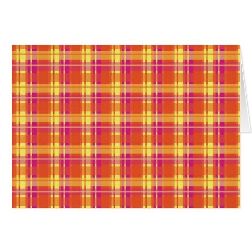 El vintage colorea la tela escocesa felicitaciones