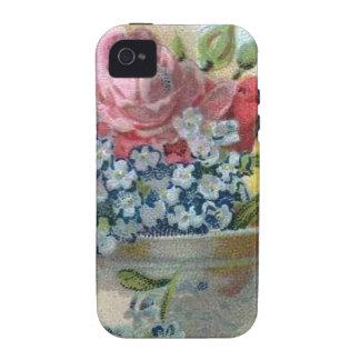 El vintage colorido floral me olvida no caso de iPhone 4 fundas