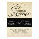 El vintage come, bebida y sea boda casado invita invitacion personalizada