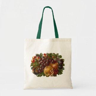 El vintage da fruto bolso de la cosecha de la acci bolsa lienzo