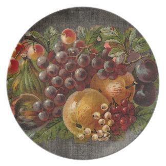 El vintage da fruto placa de la cosecha del otoño plato