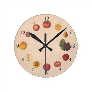 El vintage da fruto reloj de pared
