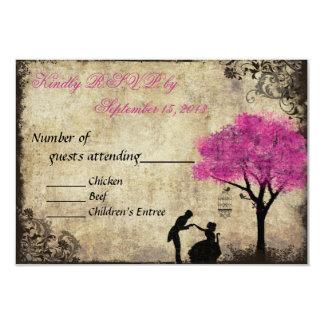 El vintage de la oferta que casa las rosas fuertes invitación 8,9 x 12,7 cm