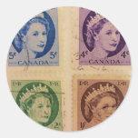 El vintage de la reina Elizabeth sella a los Pegatina Redonda
