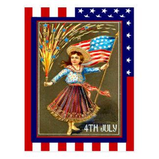 El vintage de la reproducción el 4 de julio, tarjetas postales