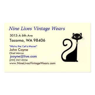El vintage de nueve vidas lleva el gato del logoti plantillas de tarjetas de visita