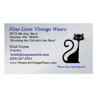 El vintage de nueve vidas lleva el gato del logoti tarjeta de visita