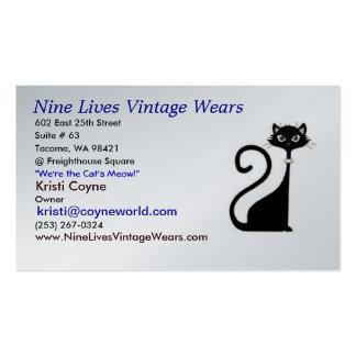 El vintage de nueve vidas lleva el gato del tarjetas de visita