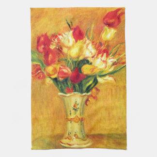El vintage de Renoir de los tulipanes florece Toalla De Mano