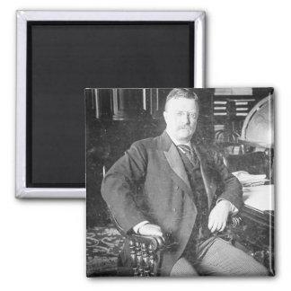 El vintage de Teddy Roosevelt de los alces de Bull Imán Cuadrado
